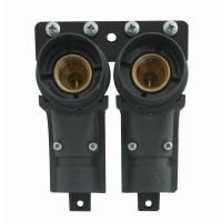 Dobbelt koblingdåse med ½ x 15 mm - 50 mm centerafstand.